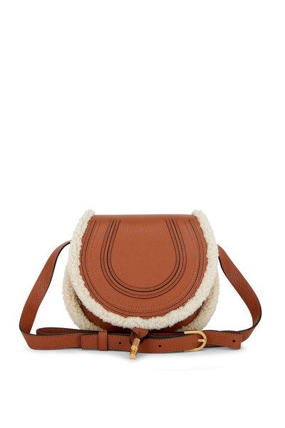 Chloé - Marcie Tan Leather & Shearling Crossbody
