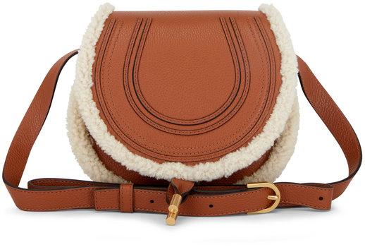 Chloé Marcie Tan Leather & Shearling Crossbody