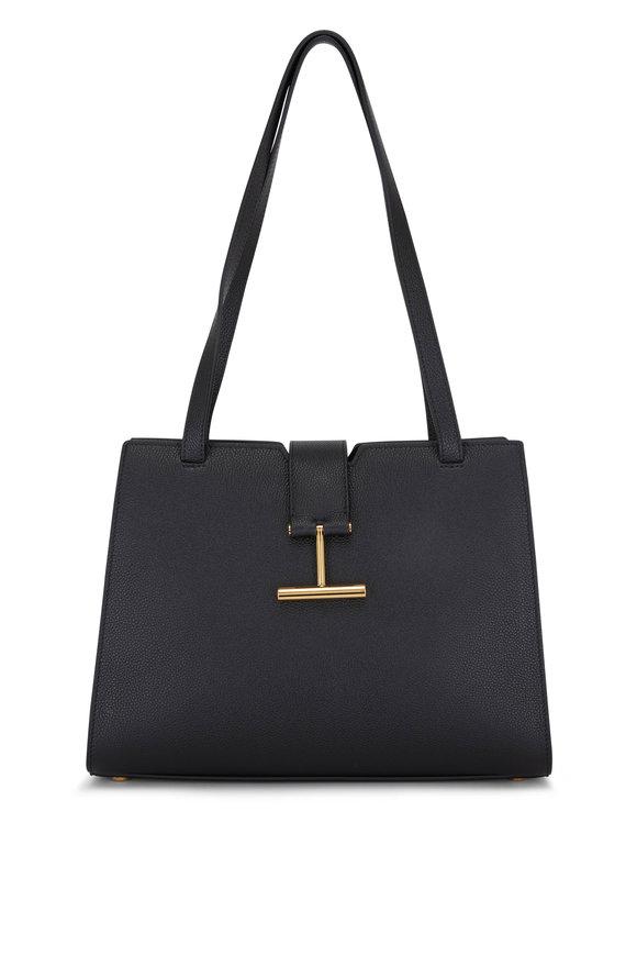 Tom Ford Tara Black Grained Leather Medium Shoulder Bag