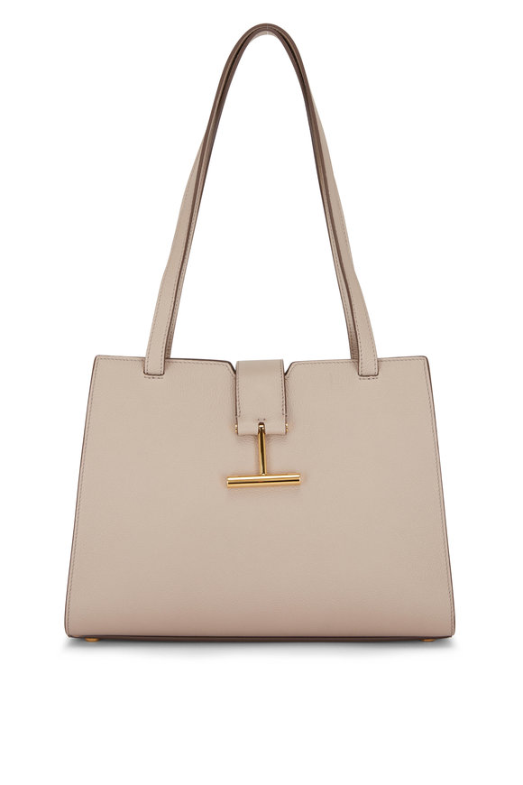 Tom Ford Tara Silk Taupe Leather Medium Shoulder Bag