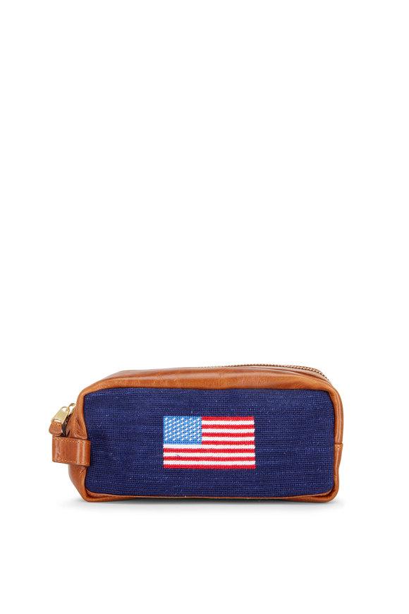 Smathers & Branson Navy American Flag Needlepoint Toiletry Bag
