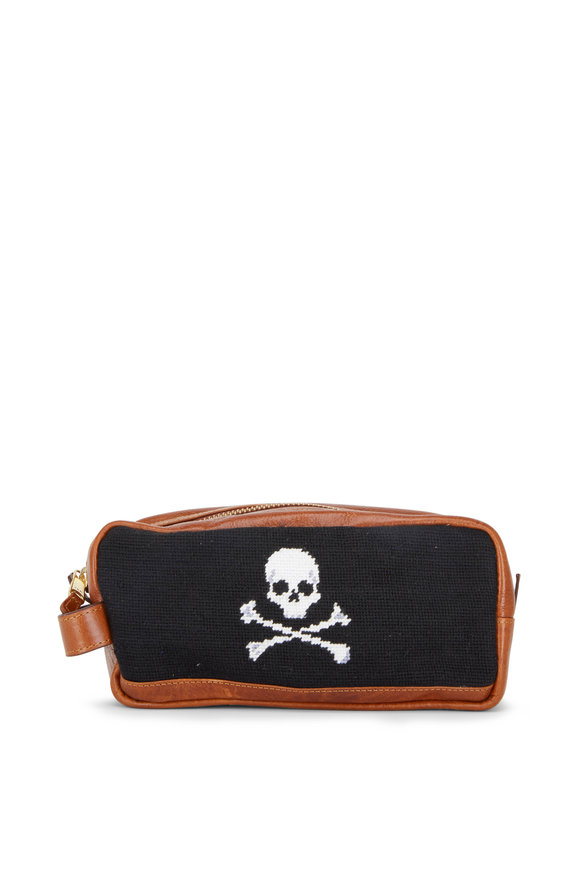 Smathers & Branson Black Jolly Roger Needlepoint Toiletry Bag