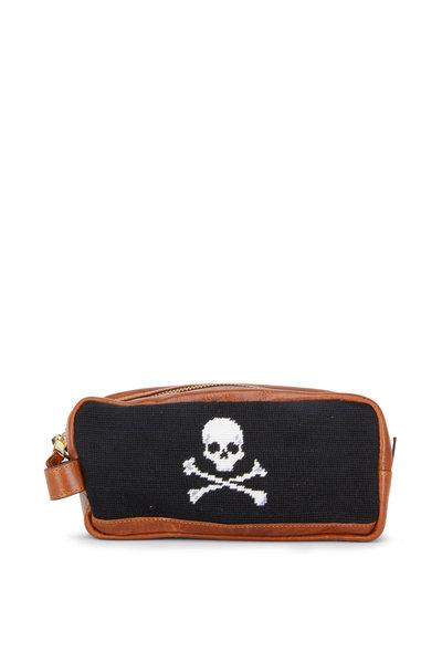 Smathers & Branson - Black Jolly Roger Needlepoint Toiletry Bag