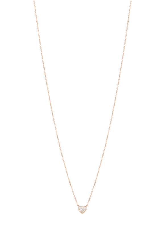 Kai Linz 18K Rose Gold Bezel Diamond Heart Necklace