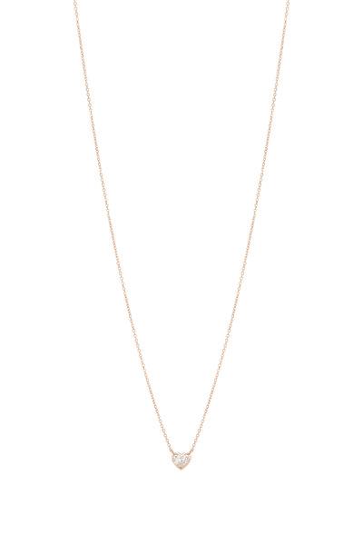 Kai Linz - 18K Rose Gold Bezel Diamond Heart Necklace