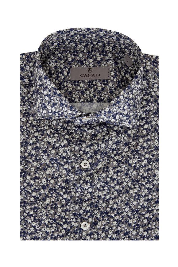 Canali Light Gray & Navy Floral Modern Fit Sport Shirt