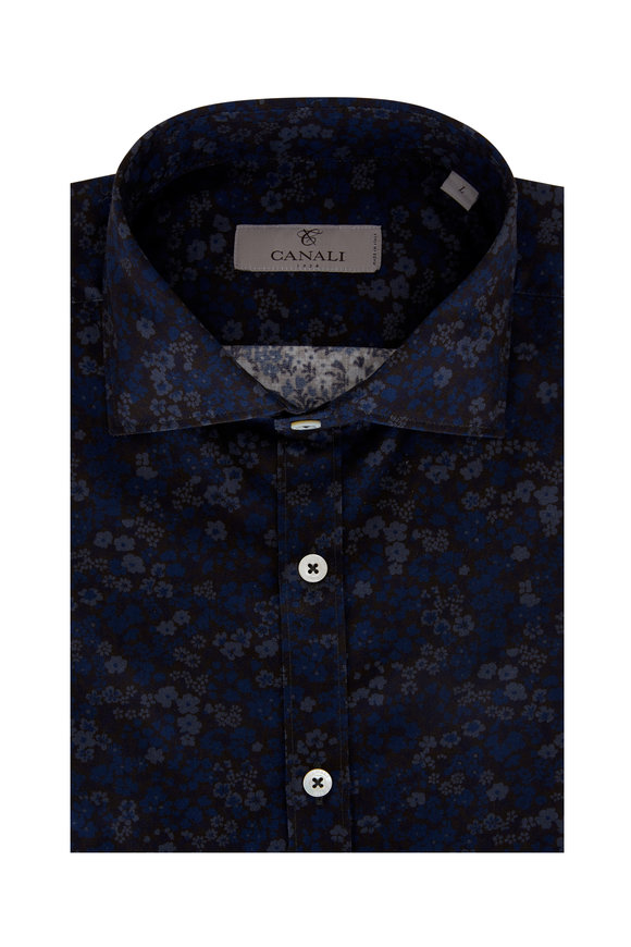 Canali Navy Shades of Blue Floral Modern Fit Sport Shirt