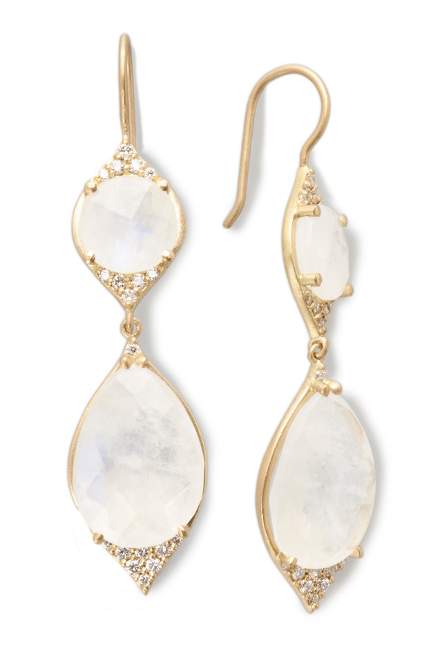 Yellow Gold Rainbow Moonstone Diamond Earrings
