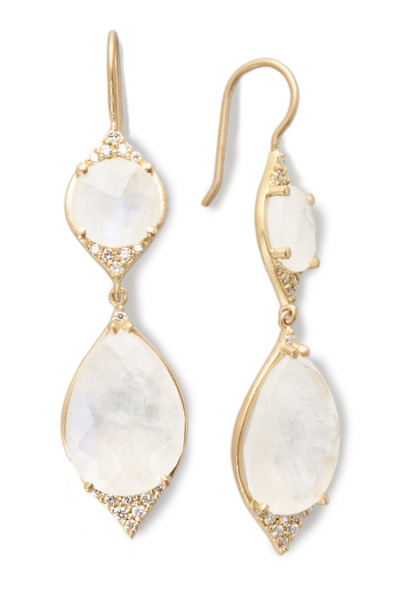 Jamie Wolf - Yellow Gold Rainbow Moonstone Diamond Earrings