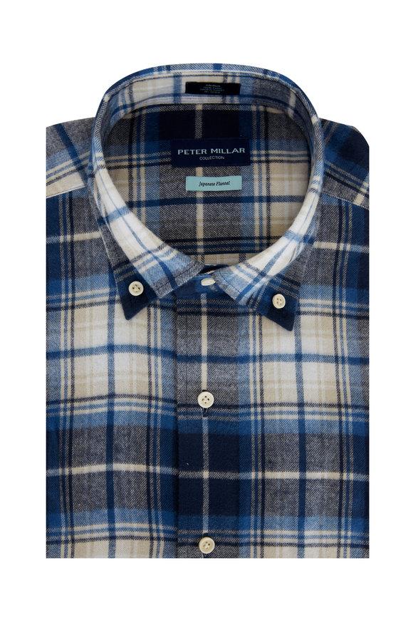 Peter Millar Avio Blue Alps Plaid Japanese Flannel Sport Shirt