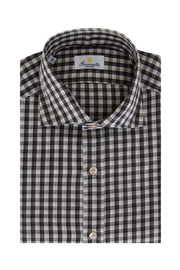 Giannetto Brown & Ivory Check Cotton Sport Shirt