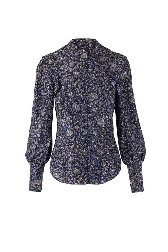 Veronica Beard Drela Navy & Black Floral Blouse