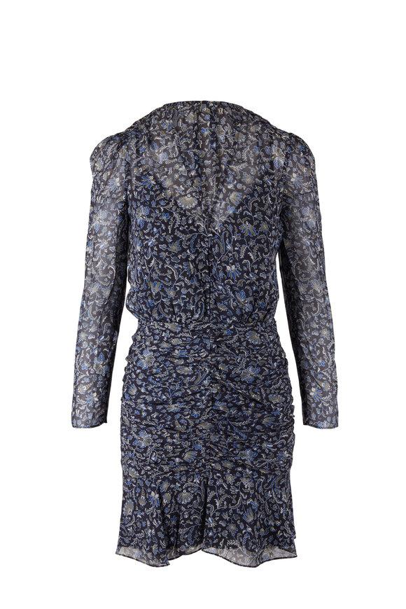 Veronica Beard Rosalia Black Multi Silk Long Sleeve Dress