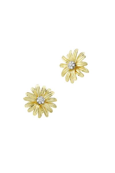 Aaron Henry - Yellow Gold Diamond Daisy Earrings