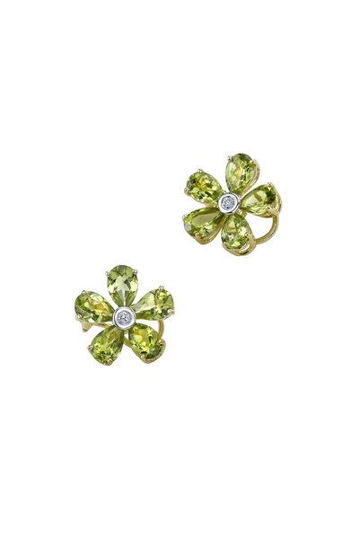 Aaron Henry - Yellow Gold Peridot Diamond Flower Earrings