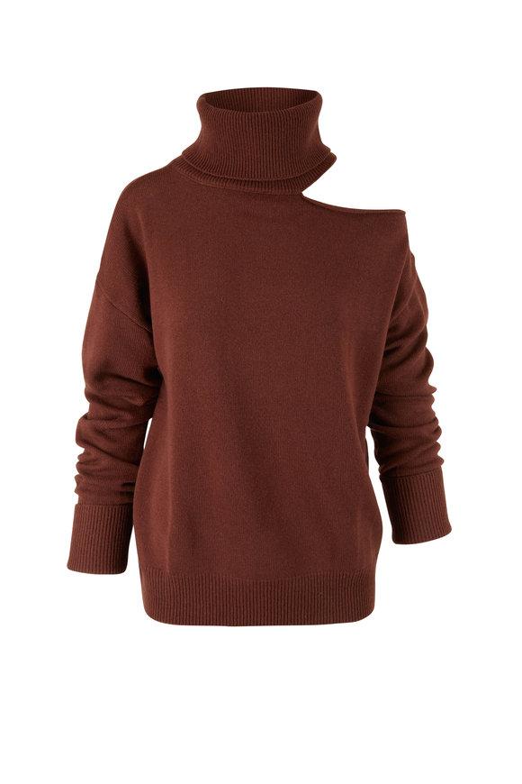PAIGE Raundi Dark Brown Open Shoulder Sweater