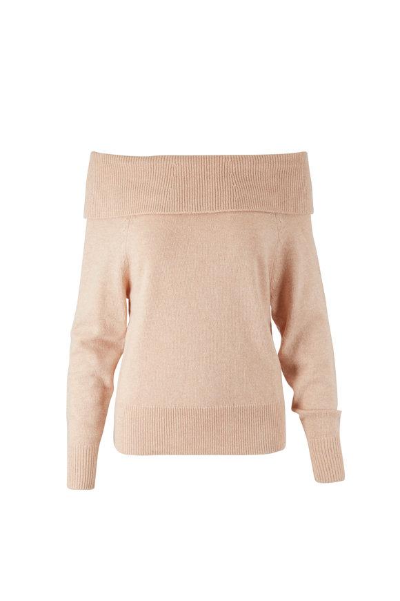 PAIGE Izabella Camel Off-The-Shoulder Sweater
