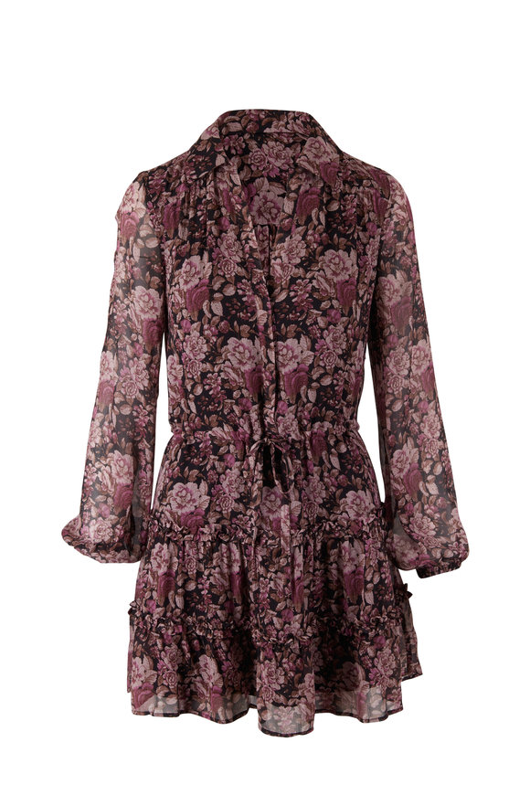 PAIGE Fernanda Black & Mauve Floral Silk Dress