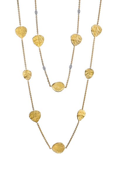 Aaron Henry - Yellow Gold Leaves Chain Necklace