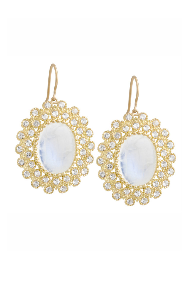 Gold Rainbow Moonstone & White Topaz Earrings
