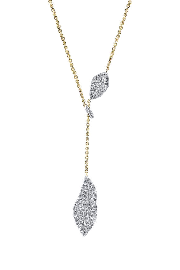 Aaron Henry Diamond Oak Leaves Lariat Chain Necklace