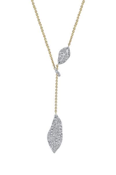 Aaron Henry - Diamond Oak Leaves Lariat Chain Necklace