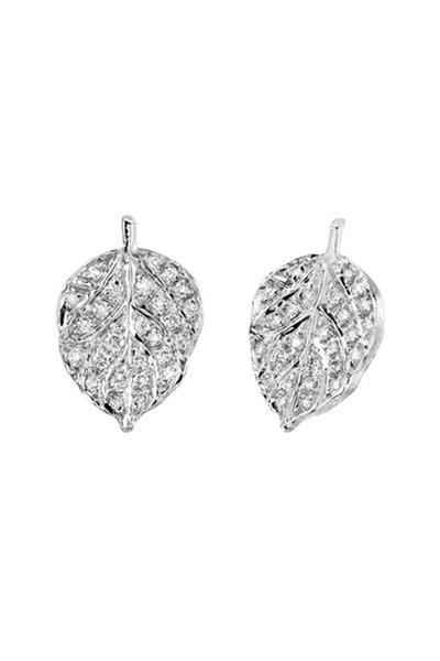 Aaron Henry - White Gold White Diamond Aspen Leaf Earrings