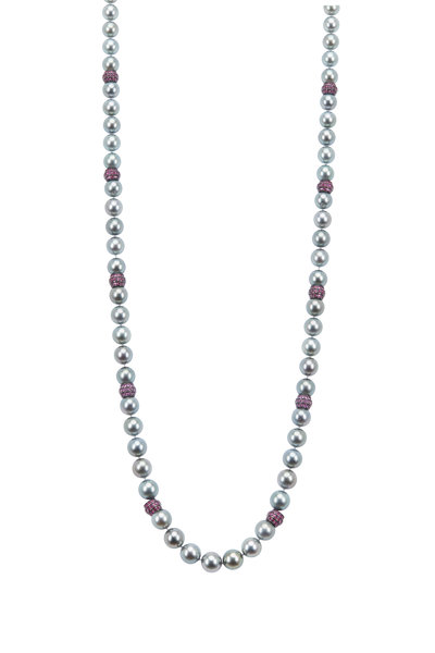 Kathleen Dughi - Tahitian Pearl Pink Sapphire Rondelle Necklace