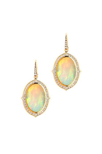 Syna - Kamala Yellow Gold Moon Quartz Diamond Earrings