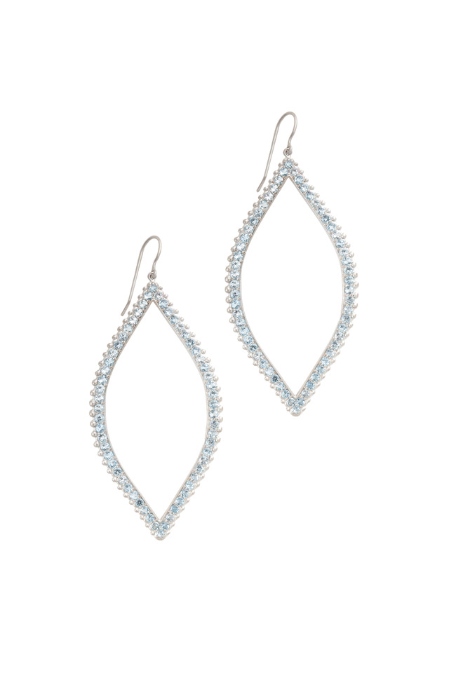 White Gold Large Beaded Open Leaf Earrings
