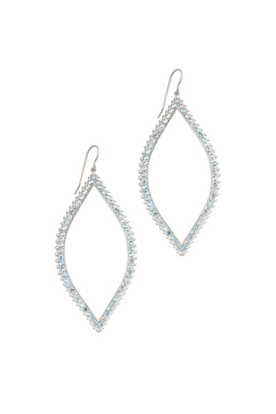 Jamie Wolf - White Gold Large Beaded Open Leaf Earrings