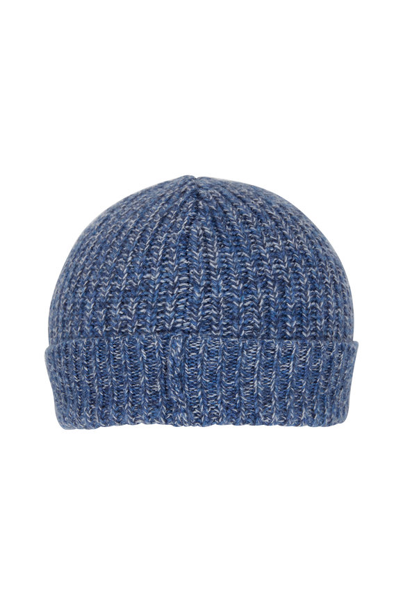 Brunello Cucinelli Donegal Blue Cashmere Hat