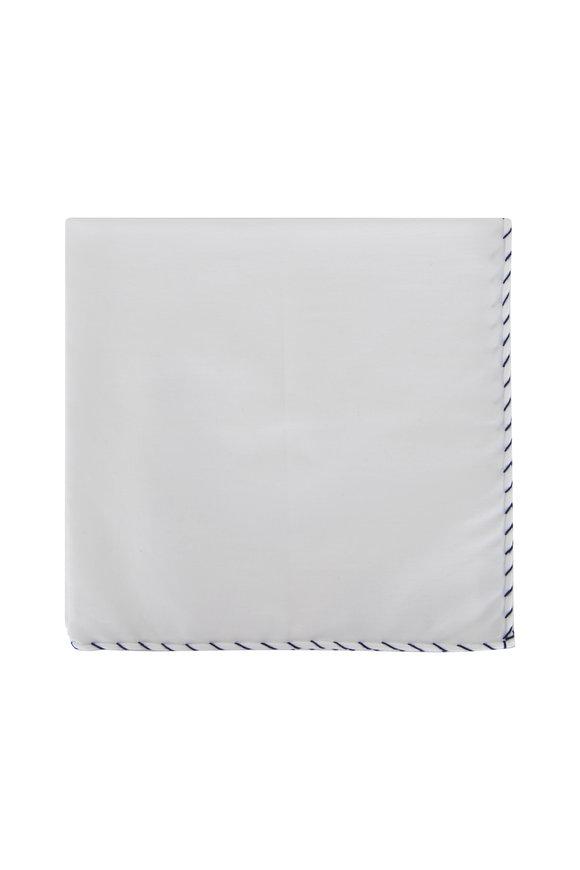 Brunello Cucinelli White & Navy Whipstitch Pocket Square