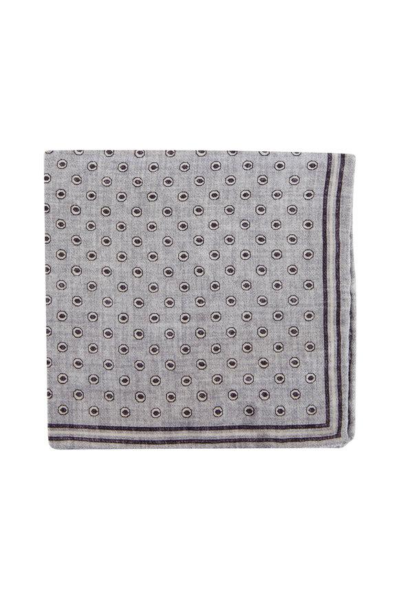 Brunello Cucinelli Gray & Purple Geometric Silk Pocket Square