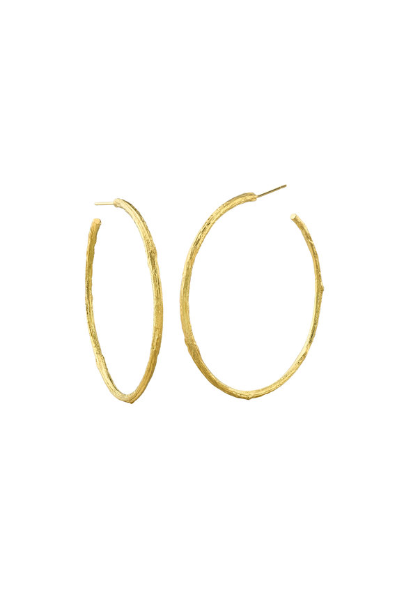 Aaron Henry 19K Yellow Gold Olive Branch Hoops
