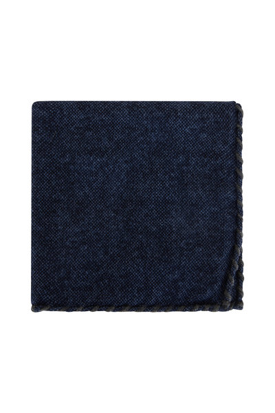 Brunello Cucinelli - Navy & Gray Whipstitch Pocket Square