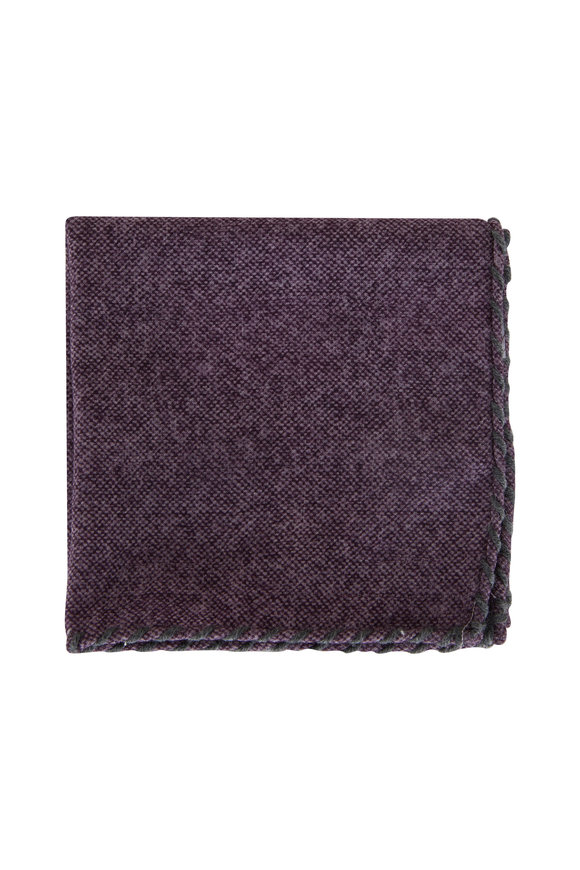 Brunello Cucinelli Purple & Gray Whipstitch Pocket Square