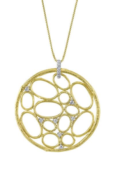 Aaron Henry - Yellow Gold Open Olive Branch Diamond Talisman