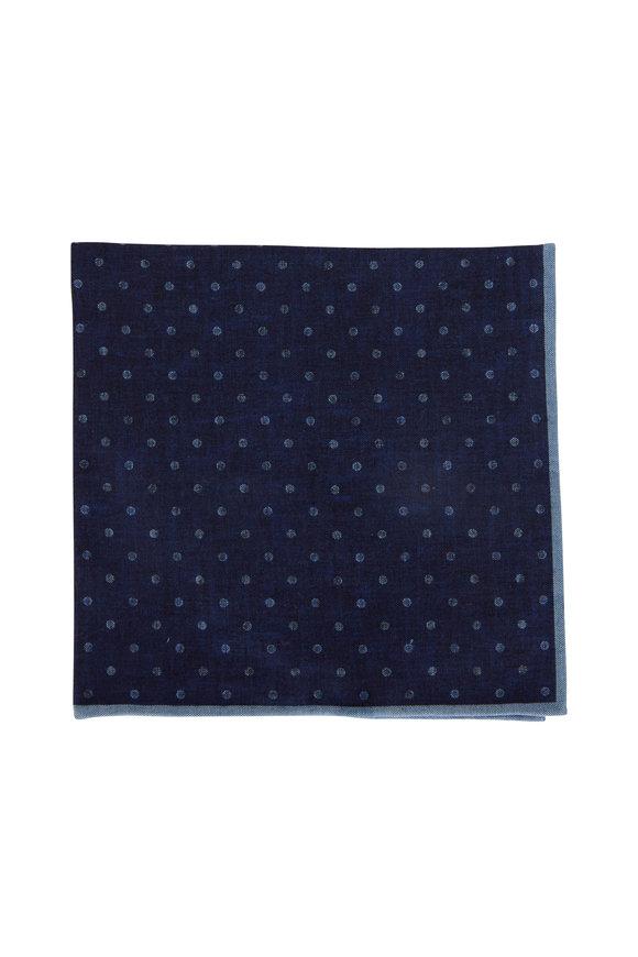 Brunello Cucinelli Dark Denim Geometric Pocket Square