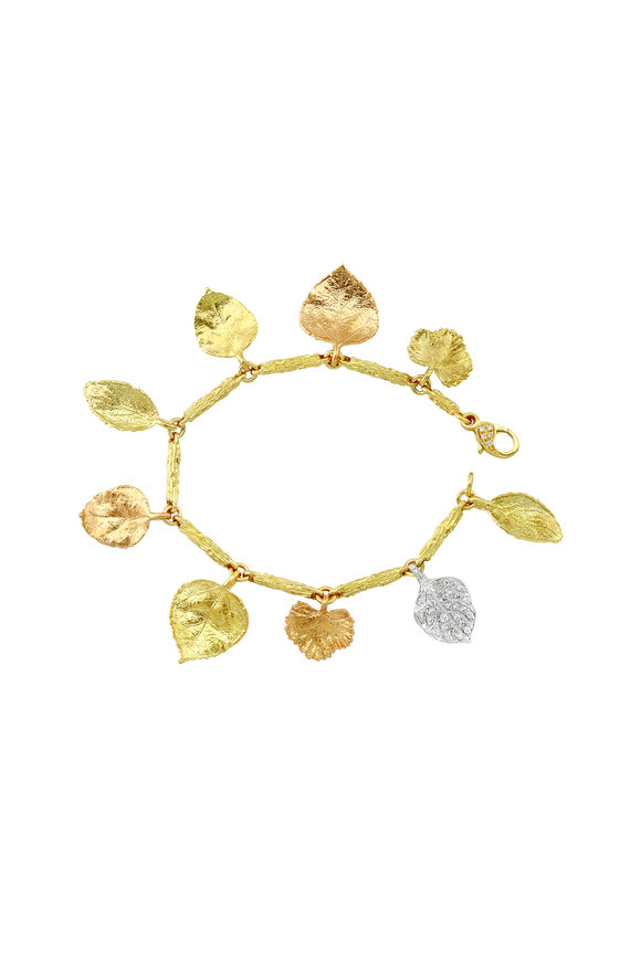 Aaron Henry Gold Branch Link Diamond Leaf Bracelet
