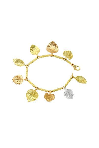 Aaron Henry - Gold Branch Link Diamond Leaf Bracelet