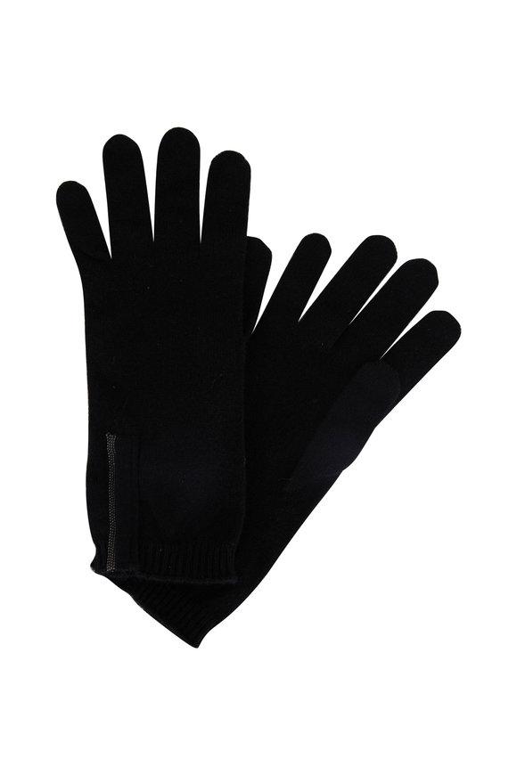 Brunello Cucinelli Black 2-Ply Cashmere Monili Tab Gloves