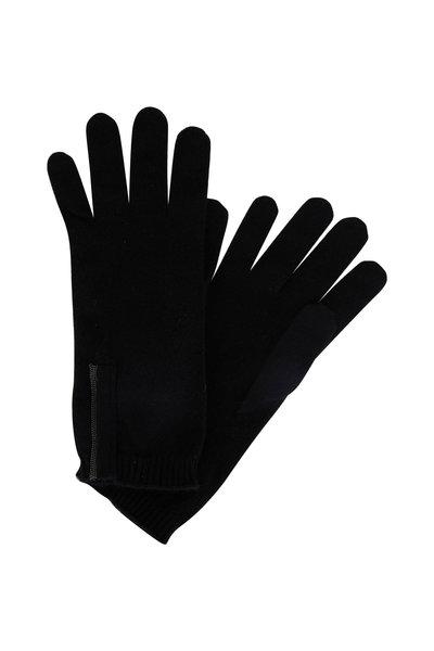 Brunello Cucinelli - Black 2-Ply Cashmere Monili Tab Gloves