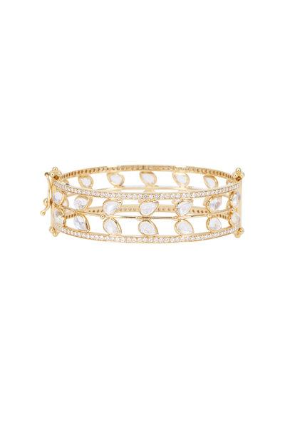 Temple St. Clair - Gold Blue Moonstone Diamond Vine Cuff Bracelet