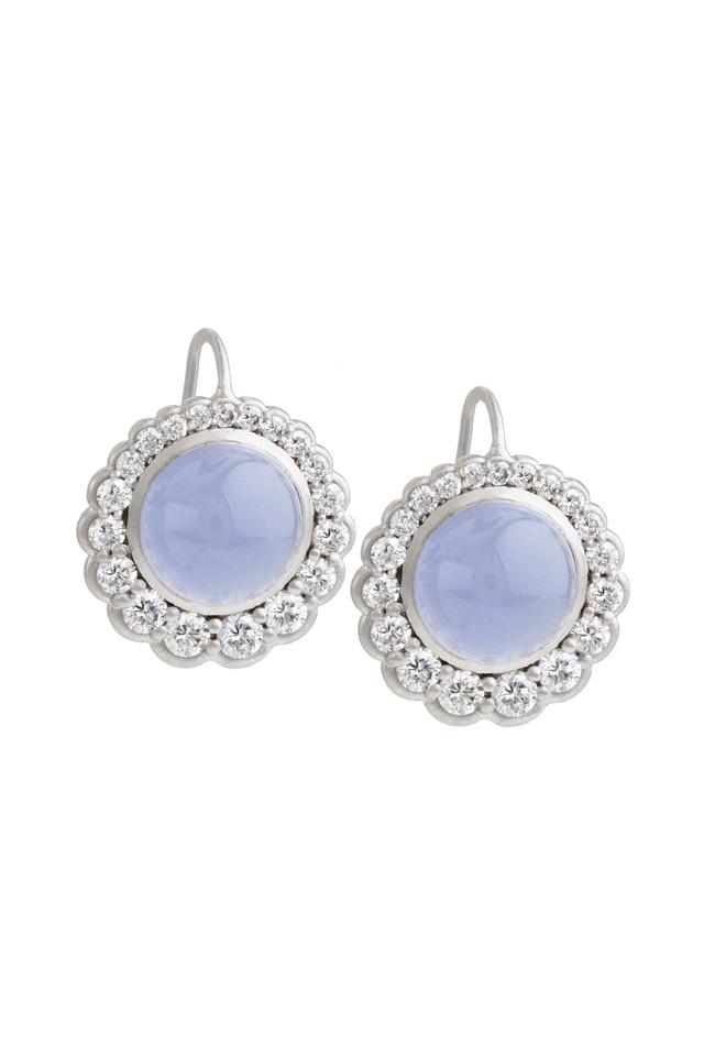 Chalcedony White Gold Diamond Disc Earrings