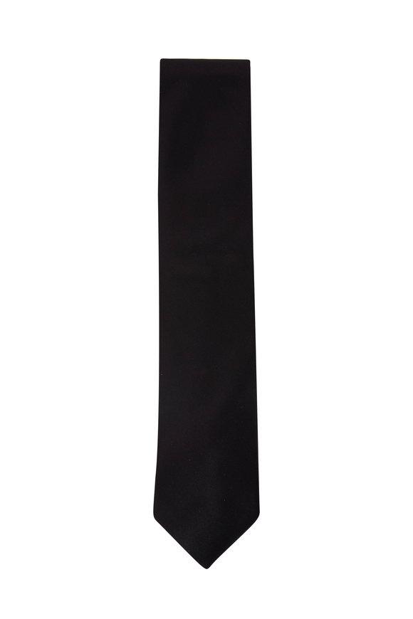 Brioni Solid Black Silk Necktie