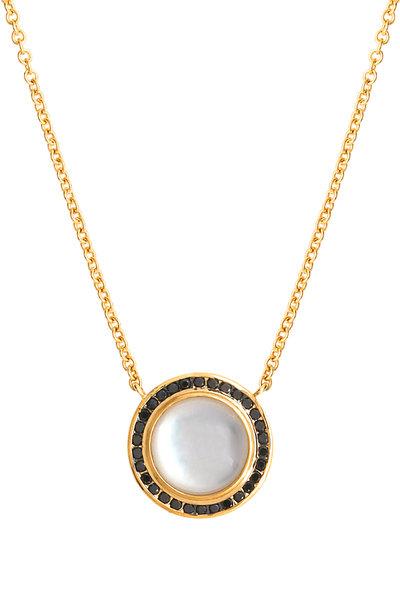 Syna - Maya Gold Moon Quartz Black Diamond Necklace