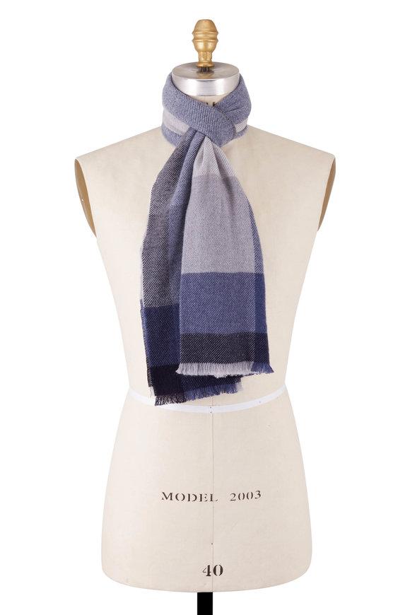 Brunello Cucinelli Blue Colorblock Wool & Cashmere Scarf