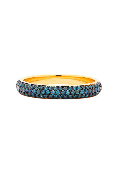 Syna - Yellow Gold Blue Diamond Stack Band