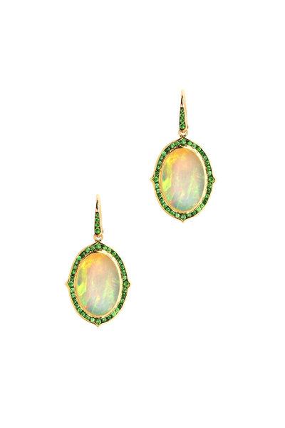 Syna - Kamala Yellow Gold Opal & Tsavorite Earrings